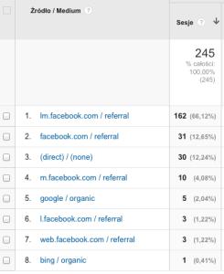źródła ruchu na promowanej stronie według Google Analytics